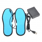 Foot Warmer USB Heated Insoles w/ USB Cable + Battery Case - Black + Blue (Size 39)
