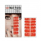 3D Cool Digital Elements Pattern Nail Art Sticker - Red + Golden
