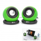 Stylish Ball Shaped USB 2.0 Speaker MP3 Player - Green + Black