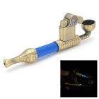 2-in-1 Cigarette Tobacco Pipe + Butane Lighter - Copper + Blue