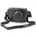 Protective PU Leather Camera Case Bag w/ Shoulder Strap for Panasonic LX5 - Black