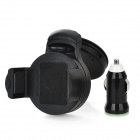 Universal 360 Degree Rotatable Car Windshield Swivel Mount Holder w/ USB Car Charger - Black