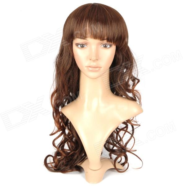 ZX-4306 2/30 Fashionable Lady's Neat Bangs Long Curly Hair Wig - Brown cute sexy cosplay wig full bangs curly