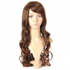 4306A 2/30 Fashionable Lady's Diagonal Bangs Long Curly Hair Wig - Brown