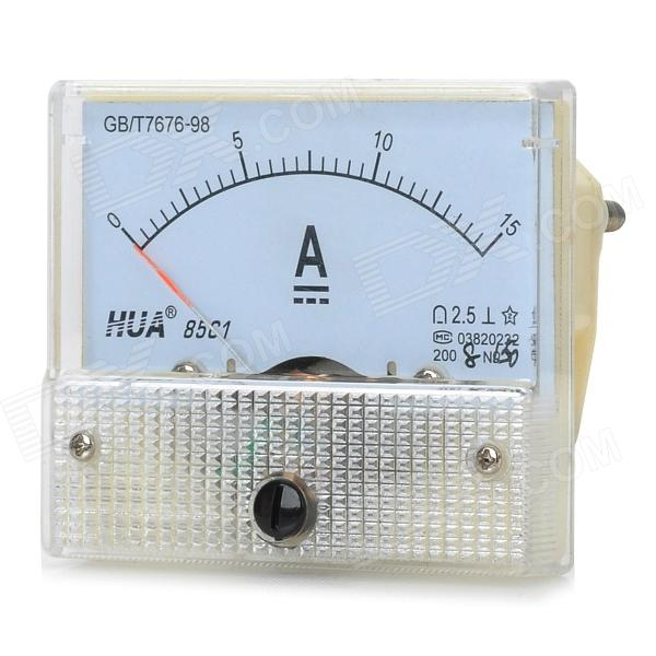 HUA 85C1 Analog 15A Current Panel Meter Ammeter - Light Blue + White
