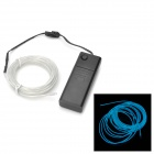 EL-3M Folding Bending 3-Mode Neon Blue Light Cable w/ Battery Case - Translucent (3m / 2 x AA)