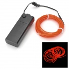 EL-3M Folding Bending 3-Mode Neon Light Cable w/ Battery Case - Orange (3m / 2 x AA)
