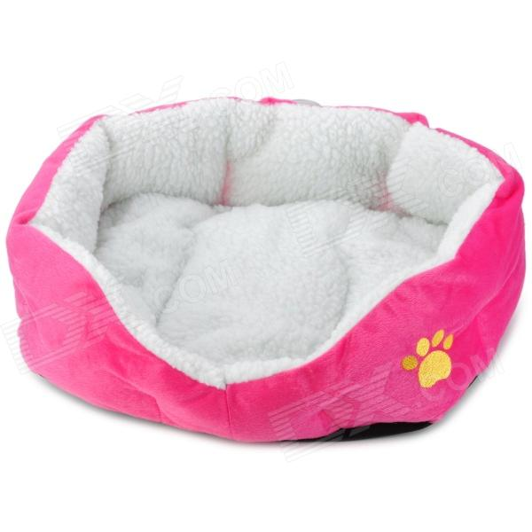 Soft Plush Pet Dog Bed House - Deep Pink