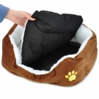 Soft Plush Pet Dog Cat Bed House - Coffee