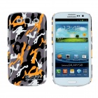 Bensy Protective Camouflage Plastic Case for Samsung i9300 Galaxy S3 - Grey + Black + Orange + White