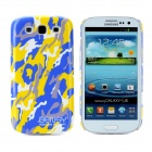 Bensy Protective Camouflage Plastic Case for Samsung i9300 Galaxy S3 - Blue + Yellow + White