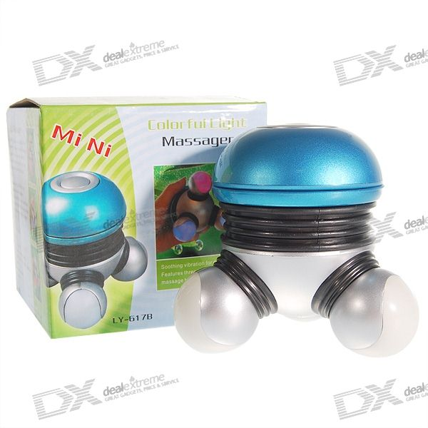 3-Point Vibrating Body Massager with Colored LEDs (3xAAA/Color Assorted)