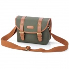 Protective Canvas PU Leather Camera Shoulder Sling Bag Cover for DSLR / SLR - Army Green + Brown