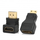 HDMI Female to HDMI Male Adapter + HDMI Female to Mini HDMI Male Adapter Set - Black (2 PCS)