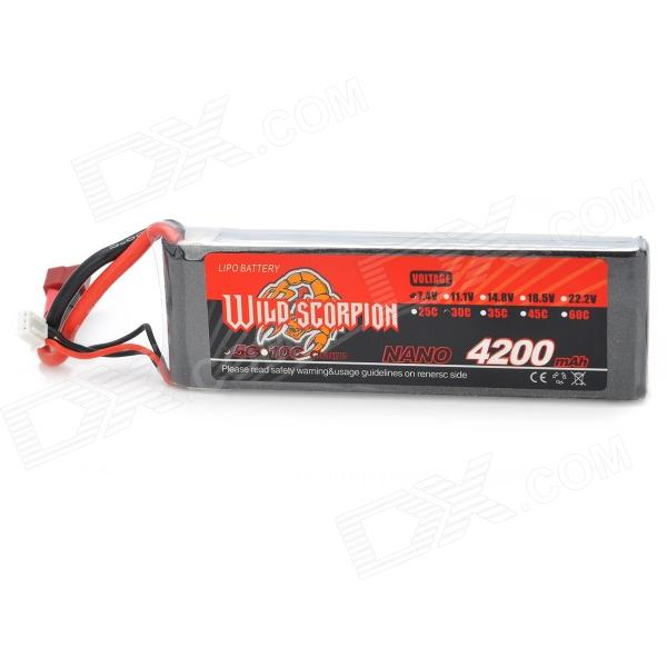 Wild Scorpion 7.4V 4200mAh 30C Li-ion Polymer Rechargeable Battery for R/C Toy - Grey + Silver
