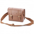 Protective Canvas PU Leather Camera Shoulder Sling Bag Cover for DSLR / SLR - Brown