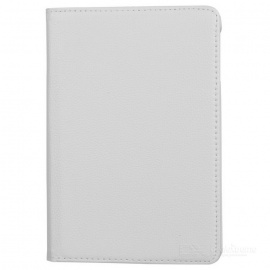 Lychee Pattern 360 Degrees Rotation Protective PU Leather Case for Ipad MINI - White