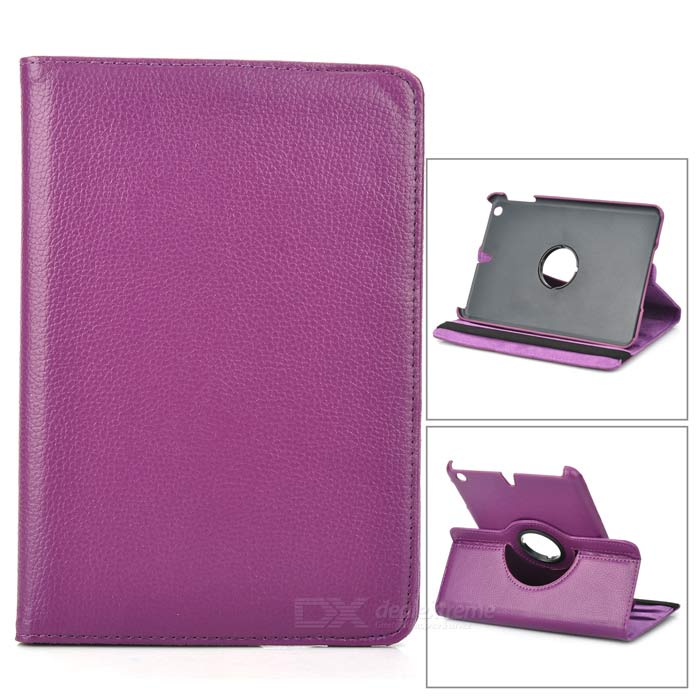 Lychee Pattern 360 Degrees Rotation Protective PU Leather Case for Ipad MINI - Purple