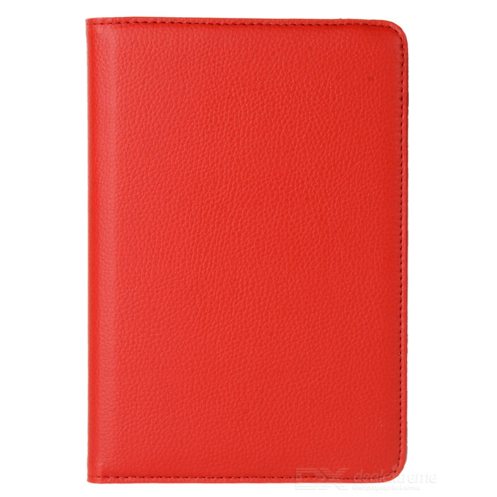 Lychee Pattern 360 Degrees Rotation Protective PU Leather Case for Ipad MINI - Red protective pu leather 360 degree rotation case for ipad 2 3 4 blue