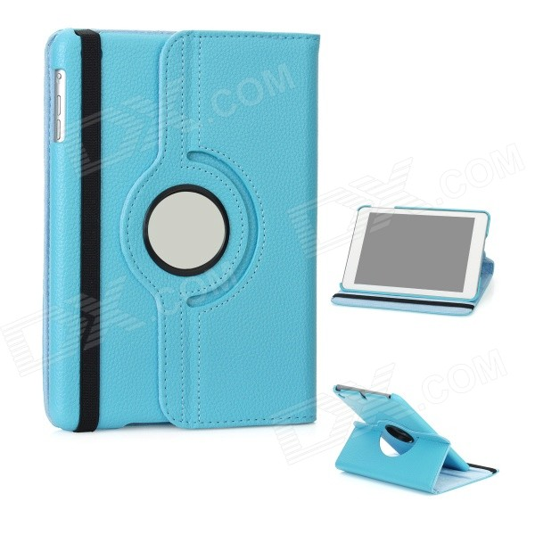 Lychee Pattern 360 Degrees Rotation Protective PU Leather Case for Ipad MINI - Light Blue