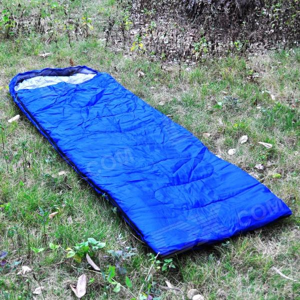 002 Envelope Style Camping Sleeping Bag w/ Hood - Blue