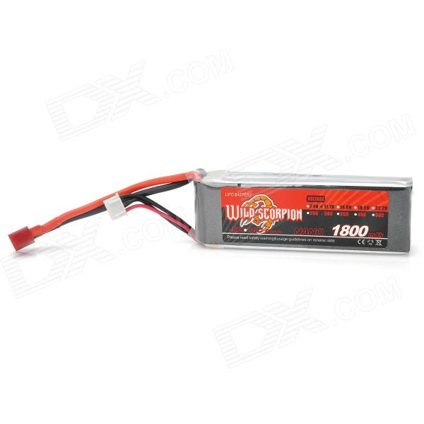 Wild Scorpion Replacement 11.1V 30C 1800mAh Li-Poly Battery Pack for R/C Model - Grey + Silver