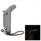 Elegant Gun Style Stainless Steel Butane Gas Lighter w/ Strap - Dim Grey