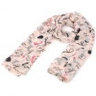 South Korea Style Trend Elements Pattern Chiffon Mulberry Silk Scarf Shawl - Misty Rose