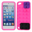 Building Block Style Protective Silicone Back Case for iPod Touch 5 - Deep Pink + Black + Purple