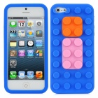 Building Block Style Protective Soft Silicone Back Case for iPhone 5 - Blue + Pink + Orange