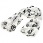 Skull Pattern Fashion Woman's Silk Scarf Shawl - White
