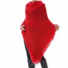 Bat-Wing Style Casual Woman's Loose Camel Hair Collar Thicken Sweater - Red