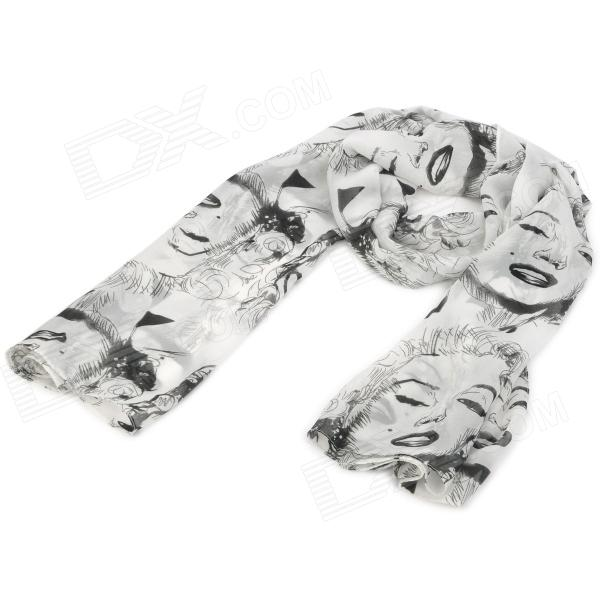 Marilyn Monroe Figure Pattern Fashion Velvet Chiffon Scarf Shawl - White skull pattern fashion chiffon scarf shawl orange