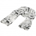 Marilyn Monroe Figure Pattern Fashion Velvet Chiffon Scarf Shawl - White