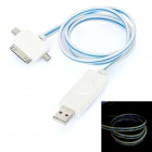 3-in-1 USB bis 30-Pin / Mini USB / Micro USB Charging Cable w / Visible Light - White (80cm)
