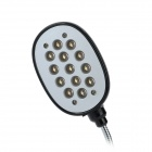 1W 6000K 260lm Flexible 13-LED White Light USB Lamp - Black