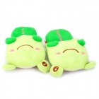 Happy Animal Cute Cartoon Frog Shaped Plush Slippers - Green (Pair)