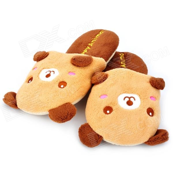 Happy Animal Cute Cartoon Bear Shaped Plush Slippers - Brown (Pair)