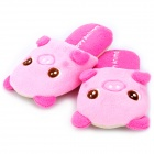 Happy Animal Cute Cartoon Pig Shaped Plush Slippers - Pink (Pair)
