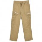 Casual Man's Cotton Multi-Pocket Overalls Pants Straight Trousers - Dark Goldenrod (Size M)