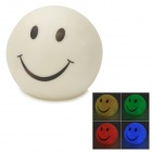 Smiling Face Pattern Color Changing Night Light Lamp - White (3 x LR44)