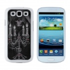 3D Skeleton with Candelabra Pattern Protective Plastic Case for Samsung i9300 - White + Black