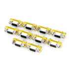 Aluminum Alloy VGA Female to VGA Female Adapters - Silver + Yellow (10 PCS)