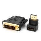 HDMI Female to HDMI Male Adapter + HDMI Female to DVI Male Adapter Set - Black (2 PCS)