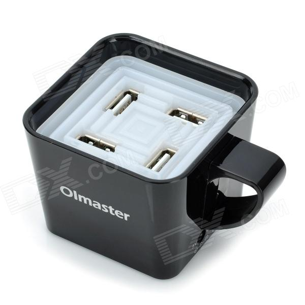 OImaster Coffee Cup Shape 4-Port USB Hub - Black