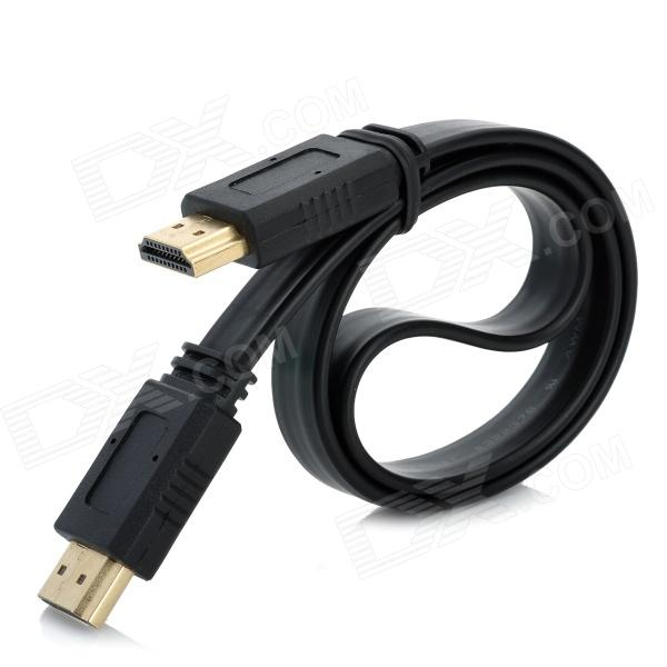 1080P Gold Plated HDMI V1.4 Male to Male Flat Cable - Black (42cm)