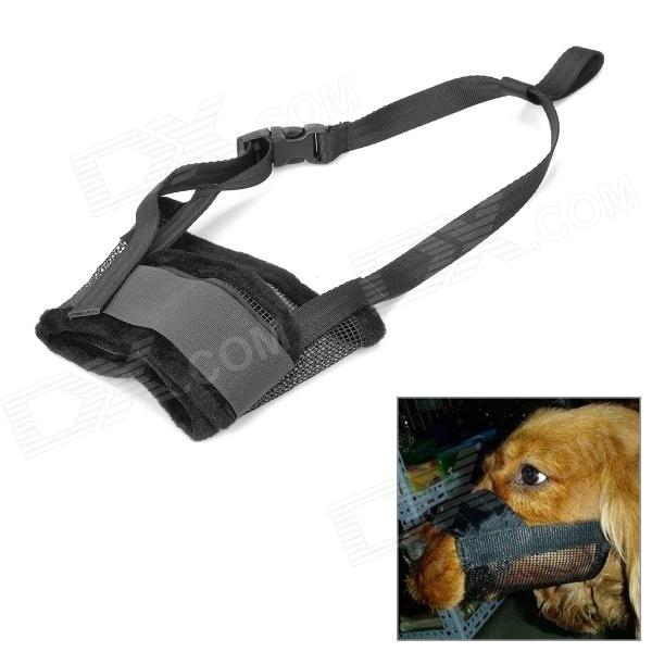 Pet Dog Anti Bark Chew Adjustable Mask Muzzle - Black (Size XXL)