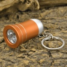 Mini Horn Style Aluminum Alloy 3-LED 1-Mode White Light Flashlight Keychain - Golden (3 x AG10)