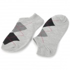Casual Man's Grid Pattern Pure Cotton Stockings - Grey + Black (Pair)