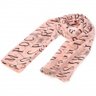 Alphabet Letters Pattern Fashion Silk Scarf Shawl - Dark Salmon
